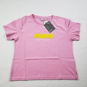 Puma T-shirt Women Cropped pink color size large